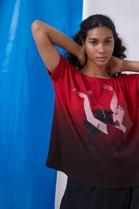 T-shirt damski by Maria Regucka, Grafika Polska czerwony