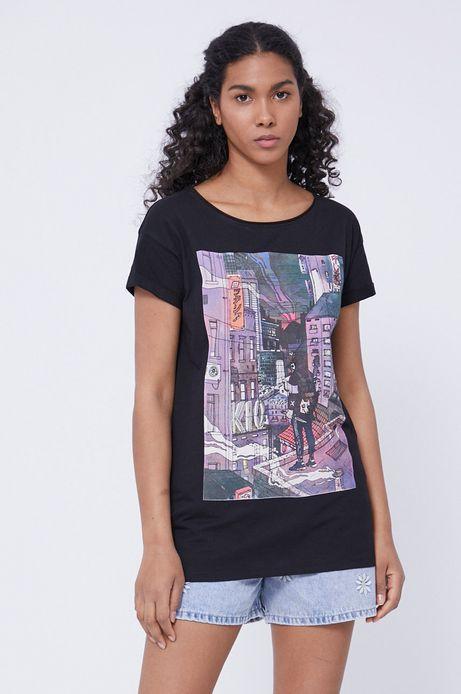 T-shirt damski z bawełny organicznej by Maria Regucka, Grafika Polska czarny