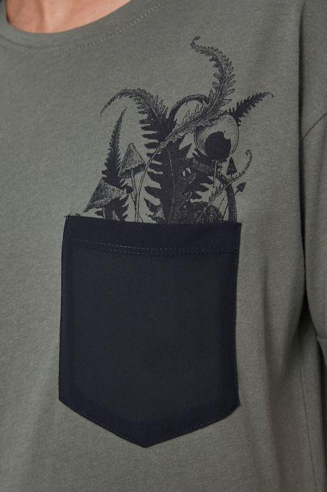 T-shirt damski z bawełny organicznej by Dawid Bacewicz, Grafika Polska zielony