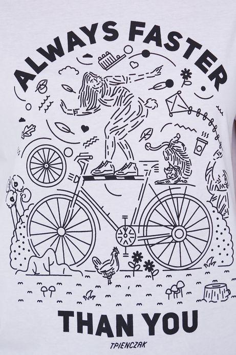 T-shirt damski z bawełny organicznej by Tomek Pieńczak, Grafika Polska biały