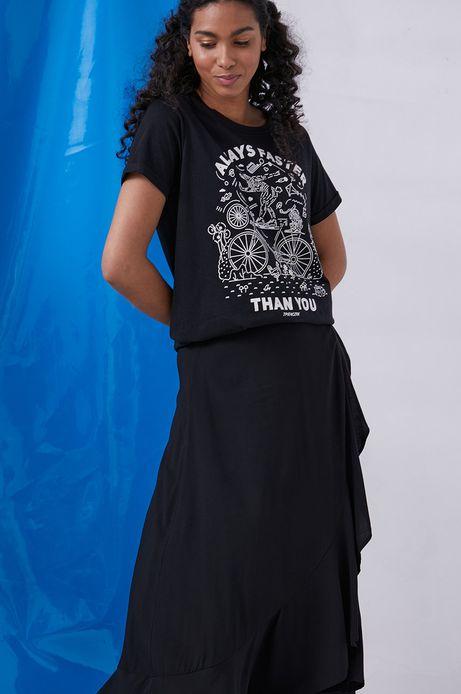 T-shirt damski z bawełny organicznej by Tomek Pieńczak, Grafika Polska czarny
