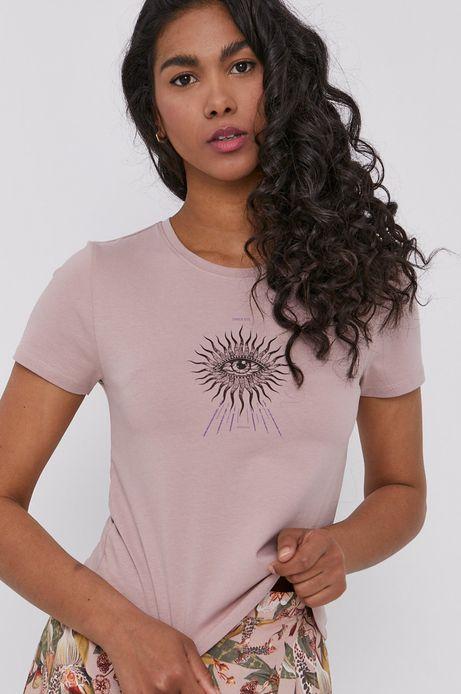 T-shirt damski z nadrukiem różowy