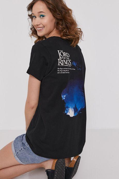 T-shirt damski z bawełny organicznej z nadrukiem The Lord Of The Rings czarny
