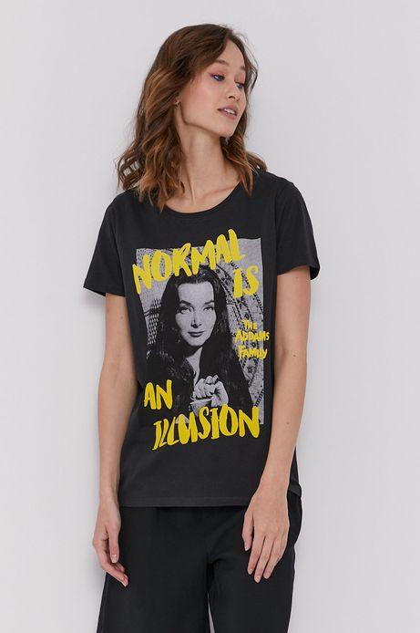 T-shirt damski z bawełny organicznej z nadrukiem The Addams Family czarny