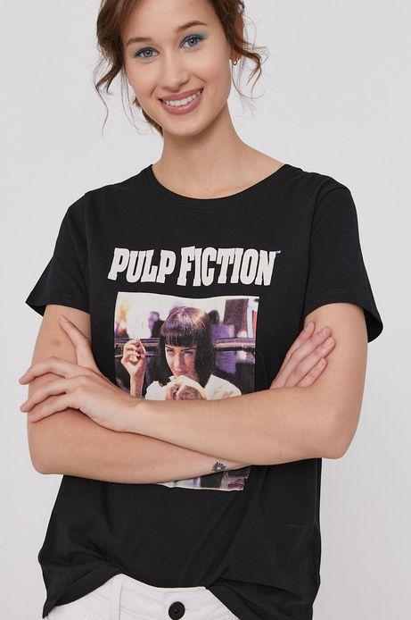 T-shirt damski z bawełny organicznej z nadrukiem Pulp Fiction czarny