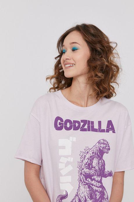 T-shirt damski z nadrukiem Godzilla fioletowy