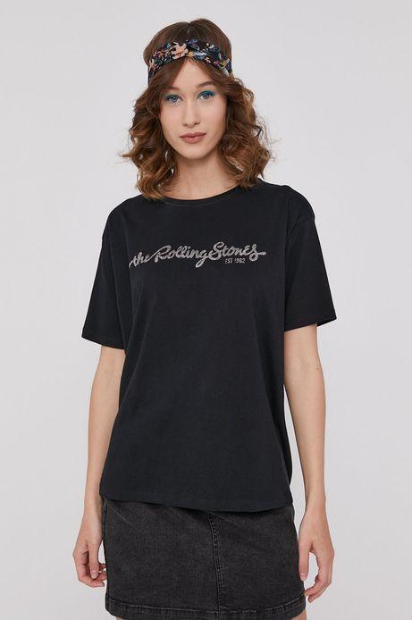 T-shirt damski z nadrukiem The Rolling Stones czarny