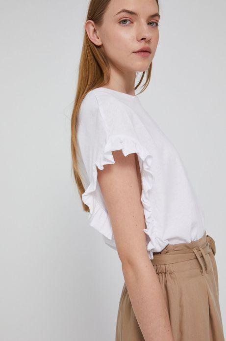 T-shirt damski z falbanką biały