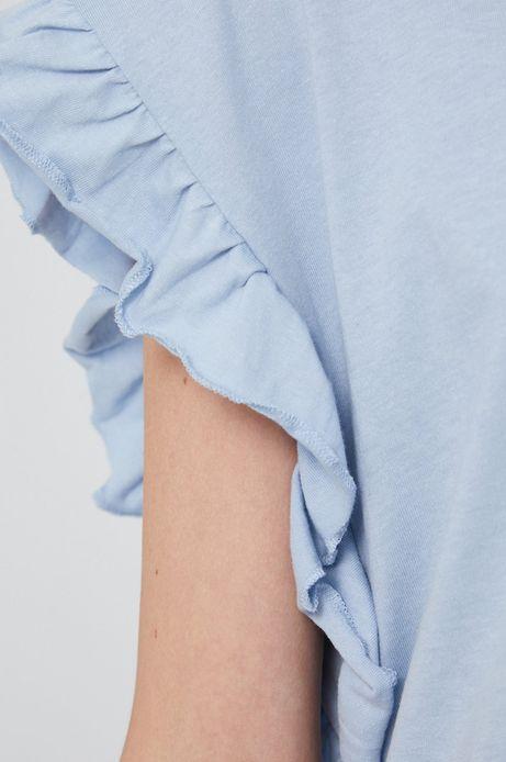 T-shirt damski z falbanką niebieski