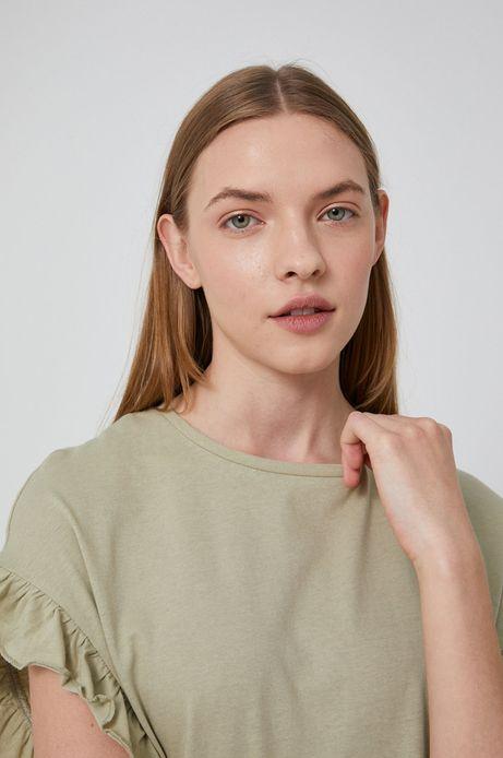 T-shirt damski z falbanką zielony