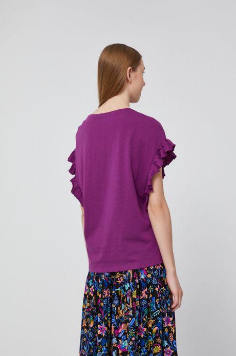 T-shirt damski z falbanką fioletowy