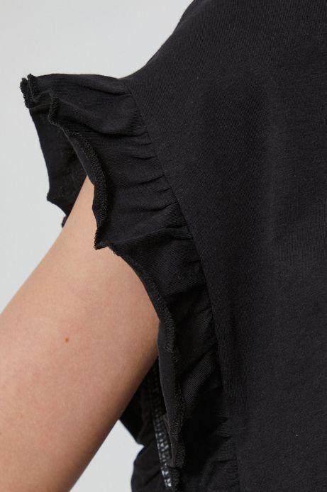 T-shirt damski z falbanką czarny