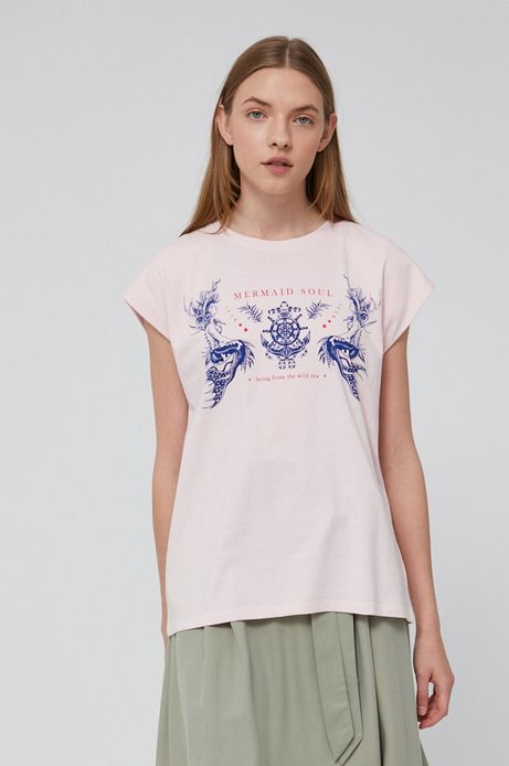 T-shirt damski z bawełny organicznej różowy