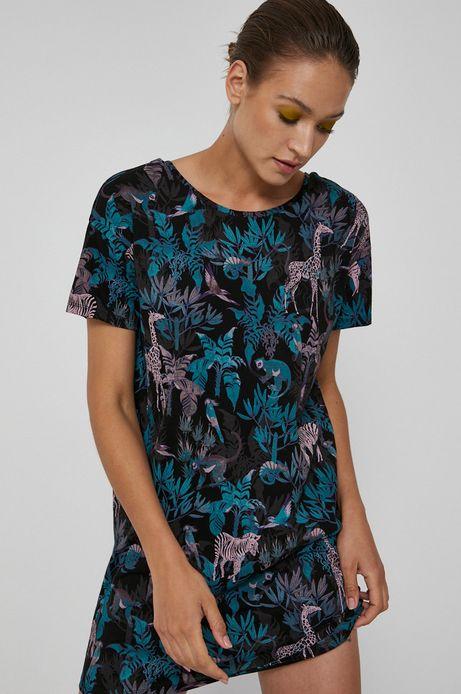 Długi t-shirt damski z wzorzystej dzianiny czarny
