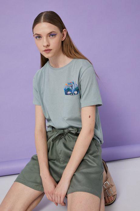 T-shirt damski by Alek Morawski turkusowy