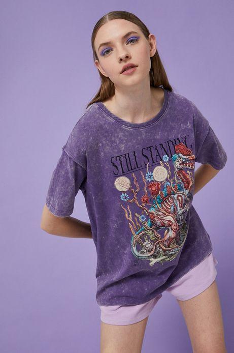 T-shirt damski by Alek Morawski fioletowy