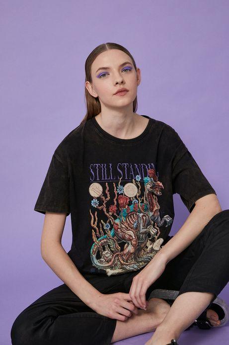 T-shirt damski by Alek Morawski czarny