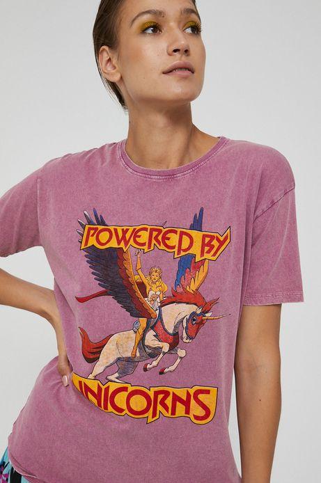 T-shirt damski z nadrukiem Powered by Unicorns różowy