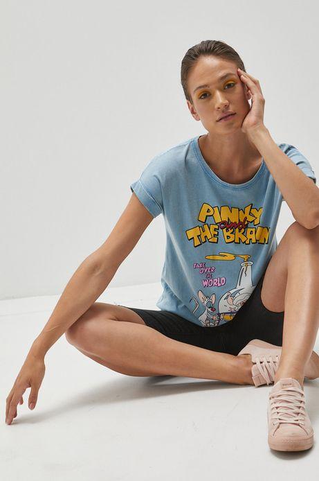 T-shirt bawełniany damski z nadrukiem Pinky and the Brain niebieski