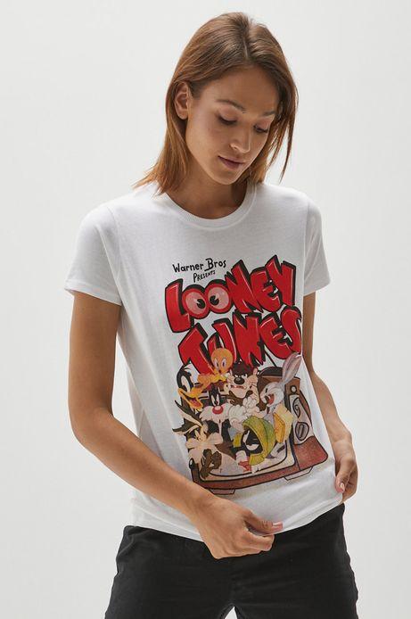 T-shirt bawełniany damski z nadrukiem Looney Tunes biały