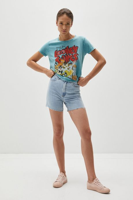 T-shirt bawełniany damski z nadrukiem Looney Tunes turkusowy