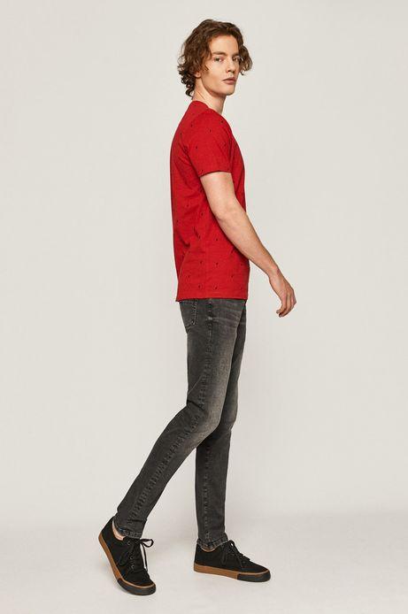 Bawełniany t-shirt męski w drobny wzór czerwony
