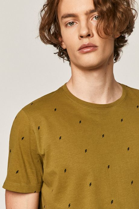 Bawełniany t-shirt męski w drobny wzór zielony