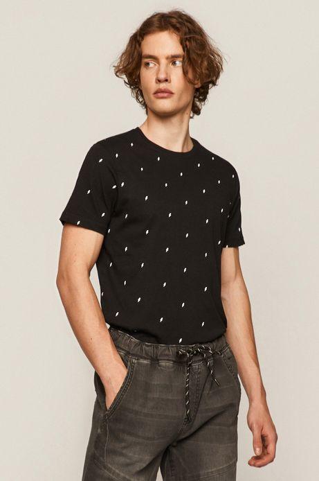 Bawełniany t-shirt męski w drobny wzór czarny