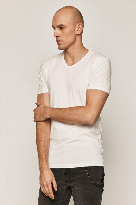 T-shirt męski z dekoltem w serek biały