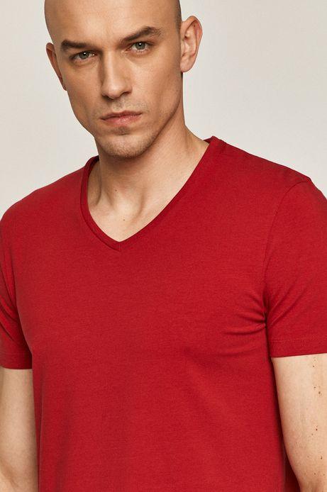 T-shirt męski z dekoltem w serek czerwony