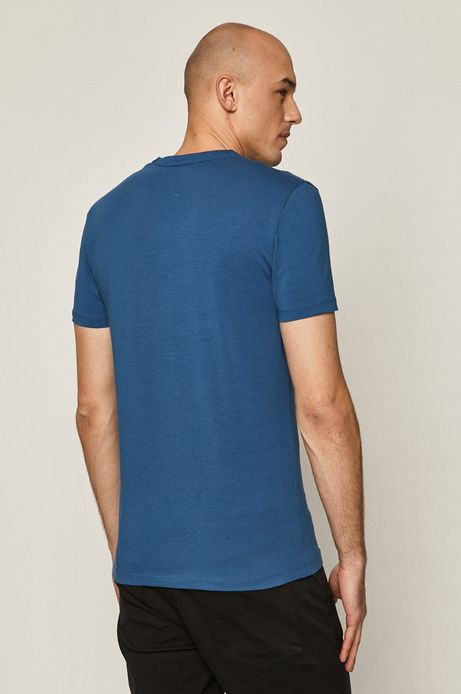T-shirt męski z dekoltem w serek niebieski
