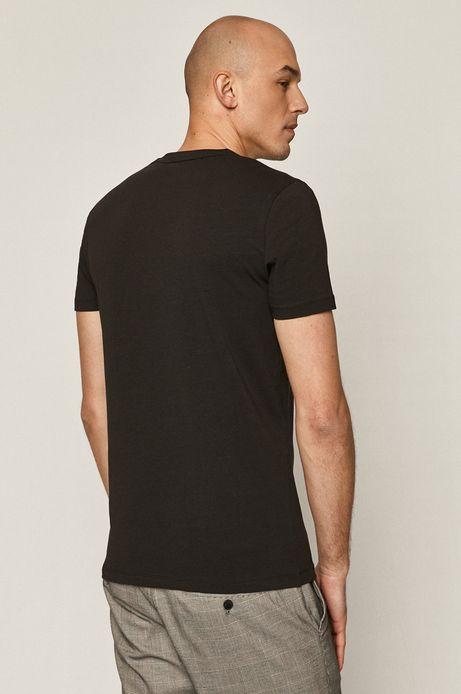 T-shirt męski z dekoltem w serek czarny