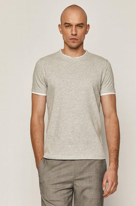 Bawełniany t-shirt męski ze strukturalnej dzianiny szary