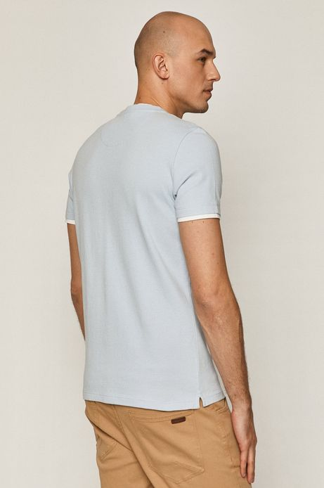 Bawełniany t-shirt męski ze strukturalnej dzianiny niebieski