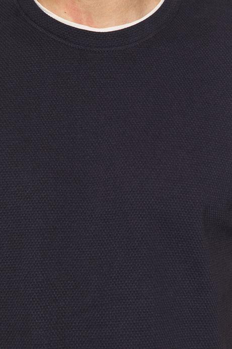 Bawełniany t-shirt męski ze strukturalnej dzianiny granatowy
