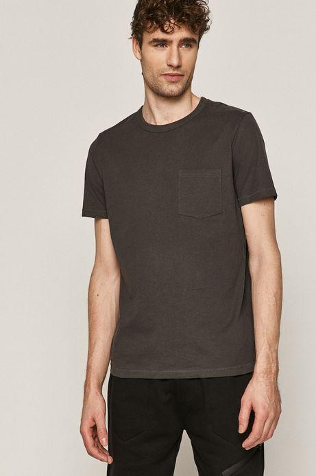 Bawełniany t-shirt męski z kieszonką szary