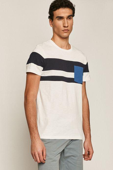 Bawełniany t-shirt męski z kieszonką biały