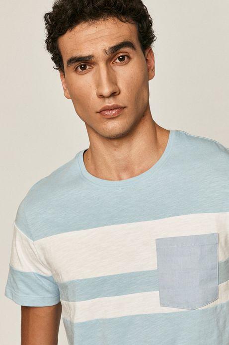 Bawełniany t-shirt męski z kieszonką niebieski