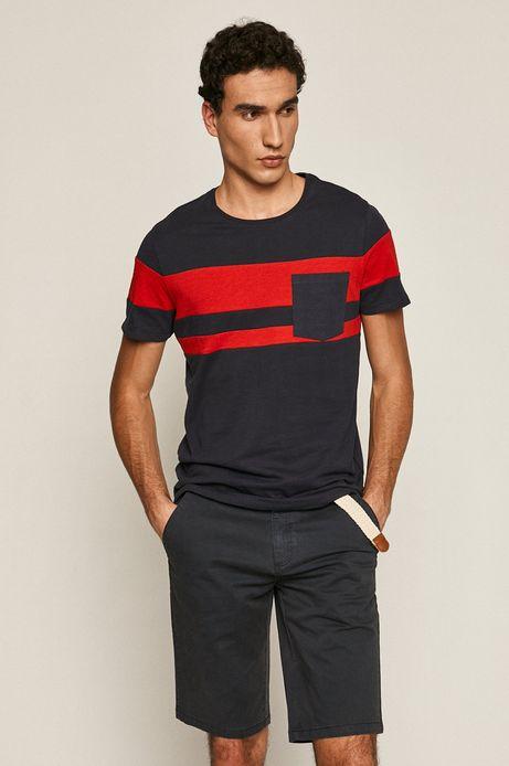 Bawełniany t-shirt męski z kieszonką granatowy