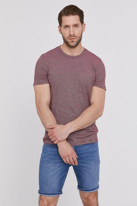 Bawełniany t-shirt męski w paski z kieszonką czerwony