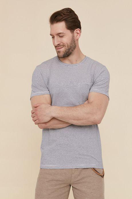 Bawełniany t-shirt męski w paski z kieszonką niebieski