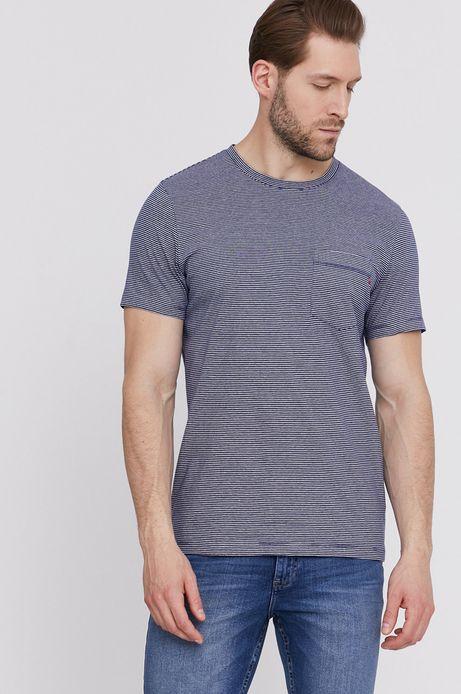 Bawełniany t-shirt męski w paski z kieszonką granatowy