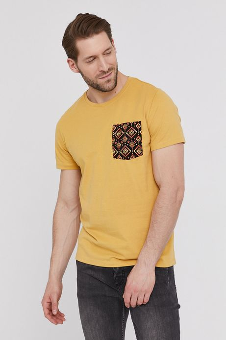Bawełniany t-shirt męski z kieszonką żółty