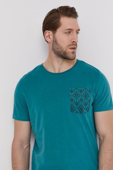 Bawełniany t-shirt męski z kieszonką zielony