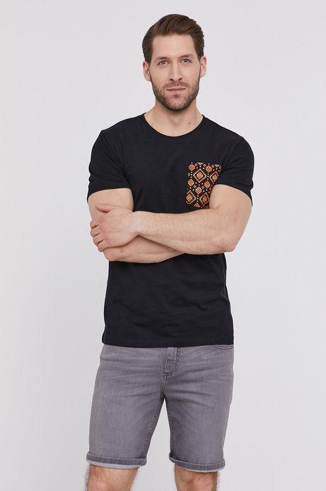 Bawełniany t-shirt męski z kieszonką czarny