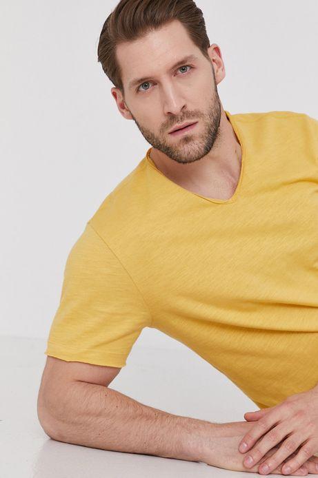 Bawełniany t-shirt męski z dekoltem w serek żółty