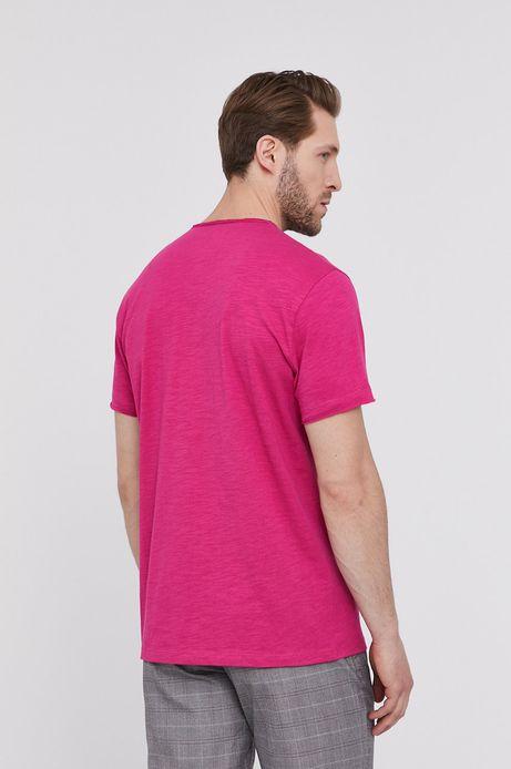 Bawełniany t-shirt męski z dekoltem w serek różowy