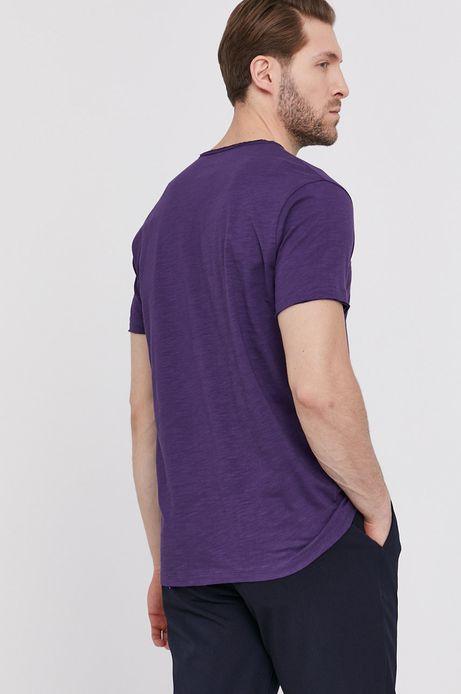 Bawełniany t-shirt męski z dekoltem w serek fioletowy