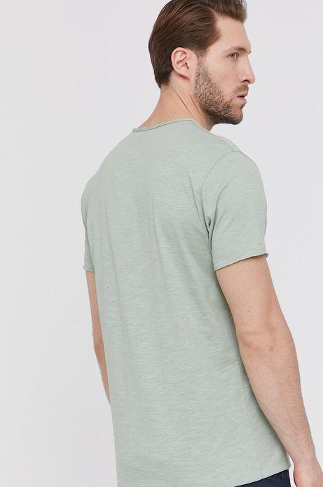 Bawełniany t-shirt męski z dekoltem w serek zielony
