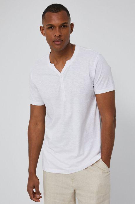 Bawełniany t-shirt męski z guzikami biały